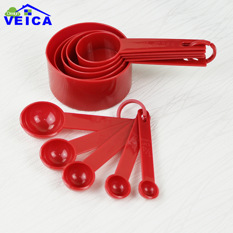 Red Plastic Measuring Cups 10pcs Lot Measuring Spoon