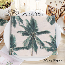 Omilut 20pcs Hawaii Party Supplies Disposable Paper Tropical Palm Leaves Napkins Cactus Flamingo Birthday Deco