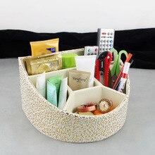 Стильный наклонные 5-слот дерево кожа настольные косметика дело коробка для хранения организатор для макияжа 262C
