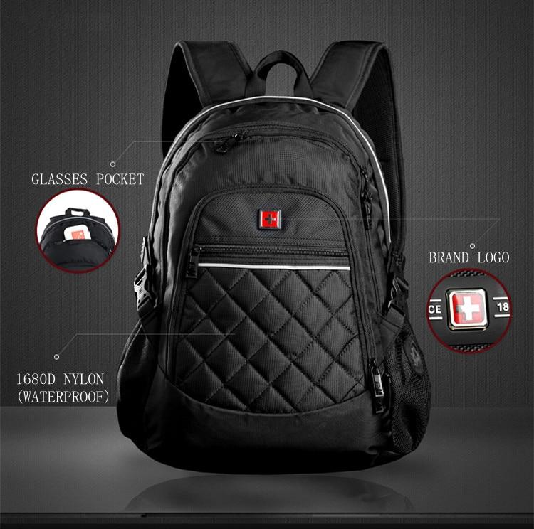 Swisswin 2017 new style unisex backpack 15 laptop bag diamond lattice bag multifunctional Nylon Mochila school bag sac a dos dfc sc s038