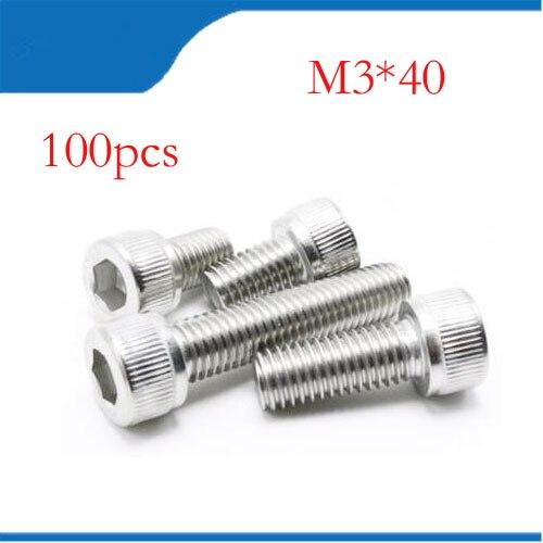 M3 screws m3 bolts  100pcs/Lot Metric Thread DIN912 M3x40 mm M3*40 mm 304 Stainless Steel Hex Socket Head Cap Screw Bolts 20pcs m3 6 m3 x 6mm aluminum anodized hex socket button head screw