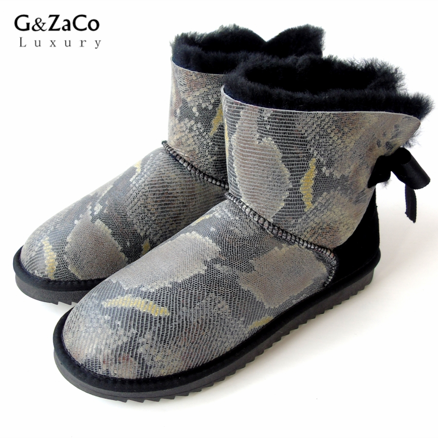 G&Zaco Winter Sheepskin Boots Natural Wool Sheep Fur Snake Bandage Bow Low Boots Female Genuine Leather Shoes Fashion Flat Boots