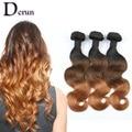 Ombre Hair Extensions Body Wave Ombre Brazilian hair 3PCS 1B/4/30 Ombre Human Hair Weave Bundles 3Tone Fast Shipping Derun Hair