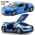 1:32 niños juguetes AUDI R8 modelo de coches de juguete para niños de música de metal tire hacia atrás de coches miniaturas de regalos para los niños