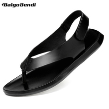 US 6-11 Big Size REAL Leather Mens Hook Loop Sandals Summer Beach Casual Slippers Driving Car Shoes
