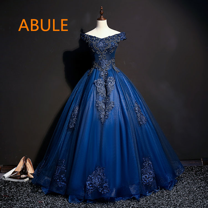 42a3862887f abule Quinceanera Dresses 2018 srtapless lace up blue beads ball gown prom  dress Debutante Gown 15 Years Layer Tulle Custom size-in Quinceanera Dresses  from ...