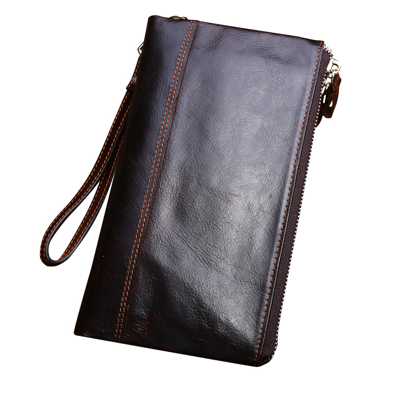 Vintage Men Wallet Genuine Leather Soft Clutch Double Zipper Long  ID Card Holders Multifunction Luxury Business Purses Male long wallets for business men luxurious 100% cowhide genuine leather vintage fashion zipper men clutch purses 2017 new arrivals