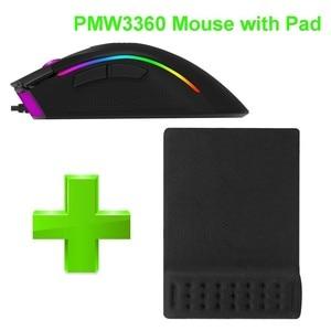 Image 5 - Delux M625 Verdrahtete 7D Gaming Mouse Ergonomische PMW3360 12000 dpi RGB Backlit PC Computer Gamer Mäuse Mit Handgelenk Rest Maus pad Kit