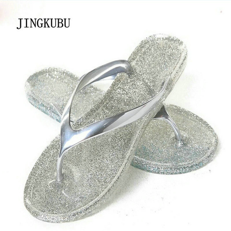 JINGKUBU 2017 New Summer Women's Slippers Open Toe New Shoes Woman Flip Flops Blue/Sliver/Gold/Pink Jelly Sandals 586 wholesale 5 woman foam open toe backless flip flops shoes slippers 1 pair