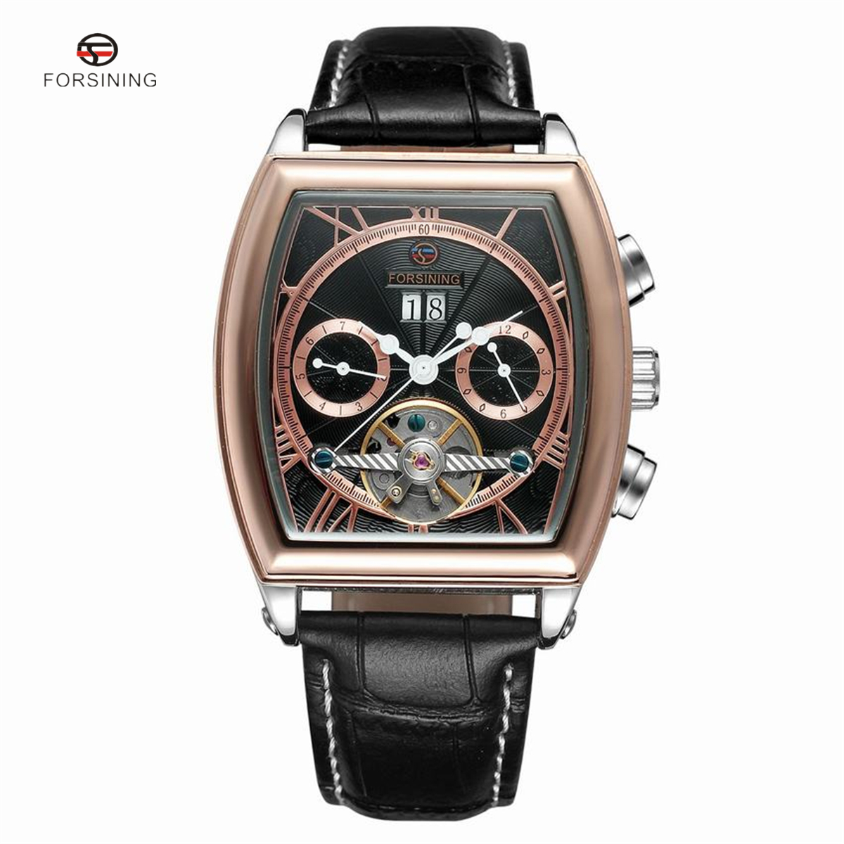 Forsining Tonneau Tourbillon Automatic Mechanical Watch Men Leather Band Auto Date Mens Watches Wristwatch Business Mans Clock forsining a165 men tourbillon automatic mechanical watch leather strap date week month year display