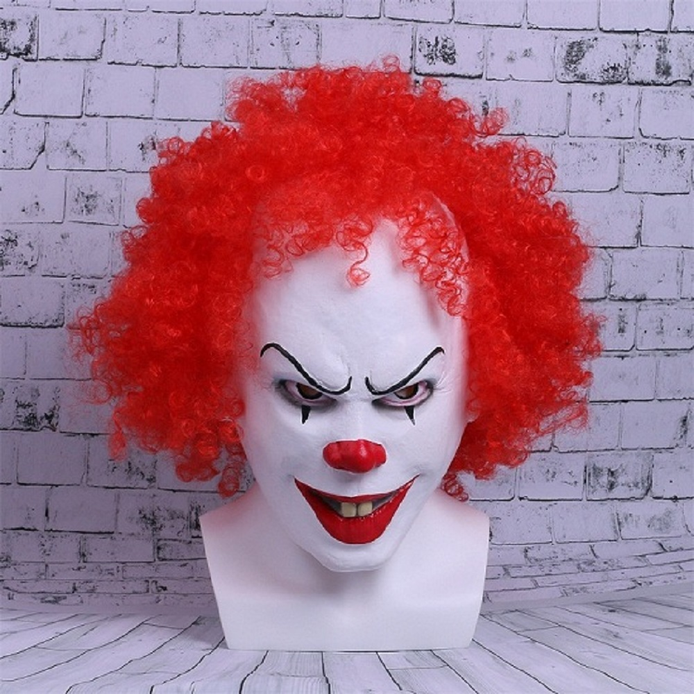 Movie Stephen King's It Mask Pennywise Mask Cosplay Masks Red Hair Clown Joker Halloween
