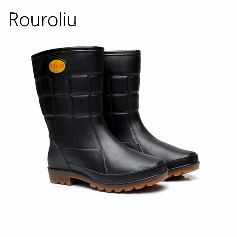 Rouroliu Men Winter Non-Slip Thick Warm Rain Boots Mid-Calf Black Work Shoes Autumn Waterproof Water Shoes Wellies RT379 rouroliu women non slip mid calf rubber rain boots autumn pvc waterproof water shoes woman wellies slip on rb218