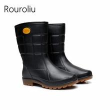 Rouroliu Men Winter Non-Slip Thick Warm Rain Boots Mid-Calf Black Work Shoes Autumn Waterproof Water Wellies RT379