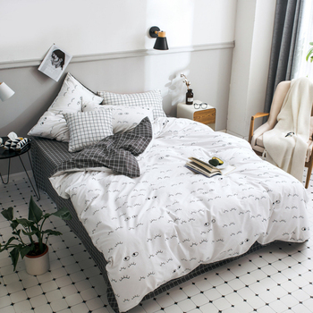 2018 New Nordic Pastoral Style Bedding Set 100% Cotton 1.5/1.8 Meter Bed 4 Pcs Set Breathable Duvet Cover Bed Sheet Pillowcase
