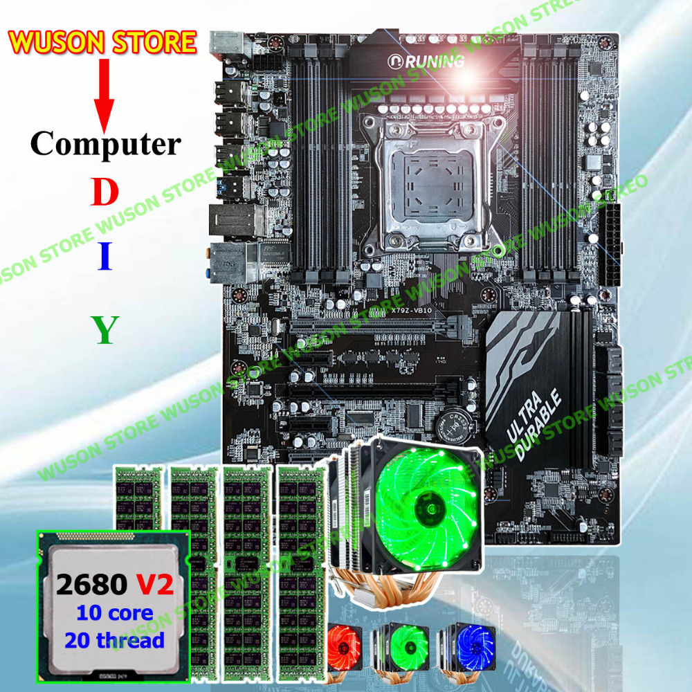 купить Runing Super ATX X79 motherboard CPU RAM combos processor Xeon E5 2680 V2 with GOOD cooler memory 32G(4*8G) 1600MHz DDR3 REG ECC по цене 36180.11 рублей