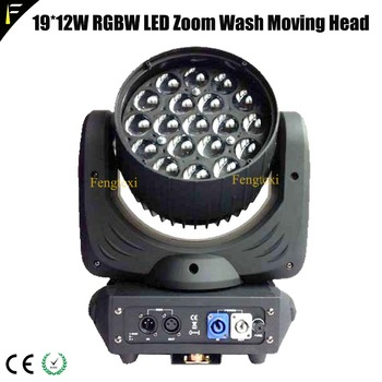 Quad LED 19*12 w RGBW 4in1 Zoom cabeza móvil Luz de lavado 16CH modo DMX alta potencia 228 w zoom de cabeza móvil de lavado profesional Dj