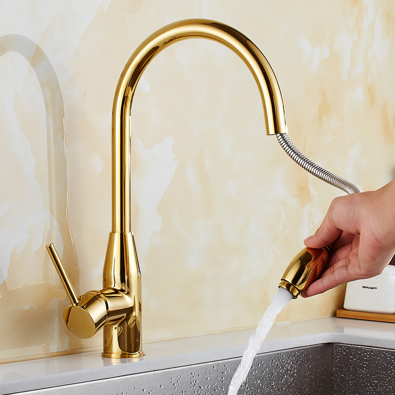 New arrival Kitchen Faucet gold finished brass kitchen sink pull out kitchen faucet,Sink tap mixer with pull out shower head new design pull out kitchen faucet gold 360 degree swivel kitchen sink faucet mixer tap kitchen faucet vanity faucet cozinha