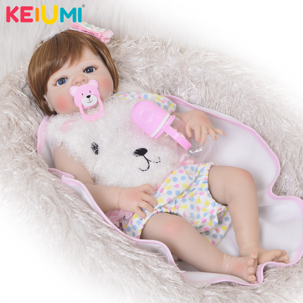 """Lovely 23'""""Reborn Girl Doll Full Silicone Body Gold Hair Reborn Dolls Lifesize Kids Playmates Baby Toys Girl Birthday Gifts-in Dolls from Toys & Hobbies    1"""