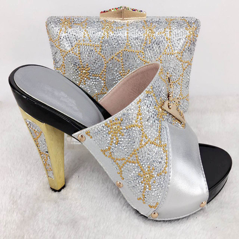 ФОТО 2017 Top Selling Silver High Heels Matching Shoes And Bag Set Beautiful Wedding Bride Shoes And Bag Set PPI27