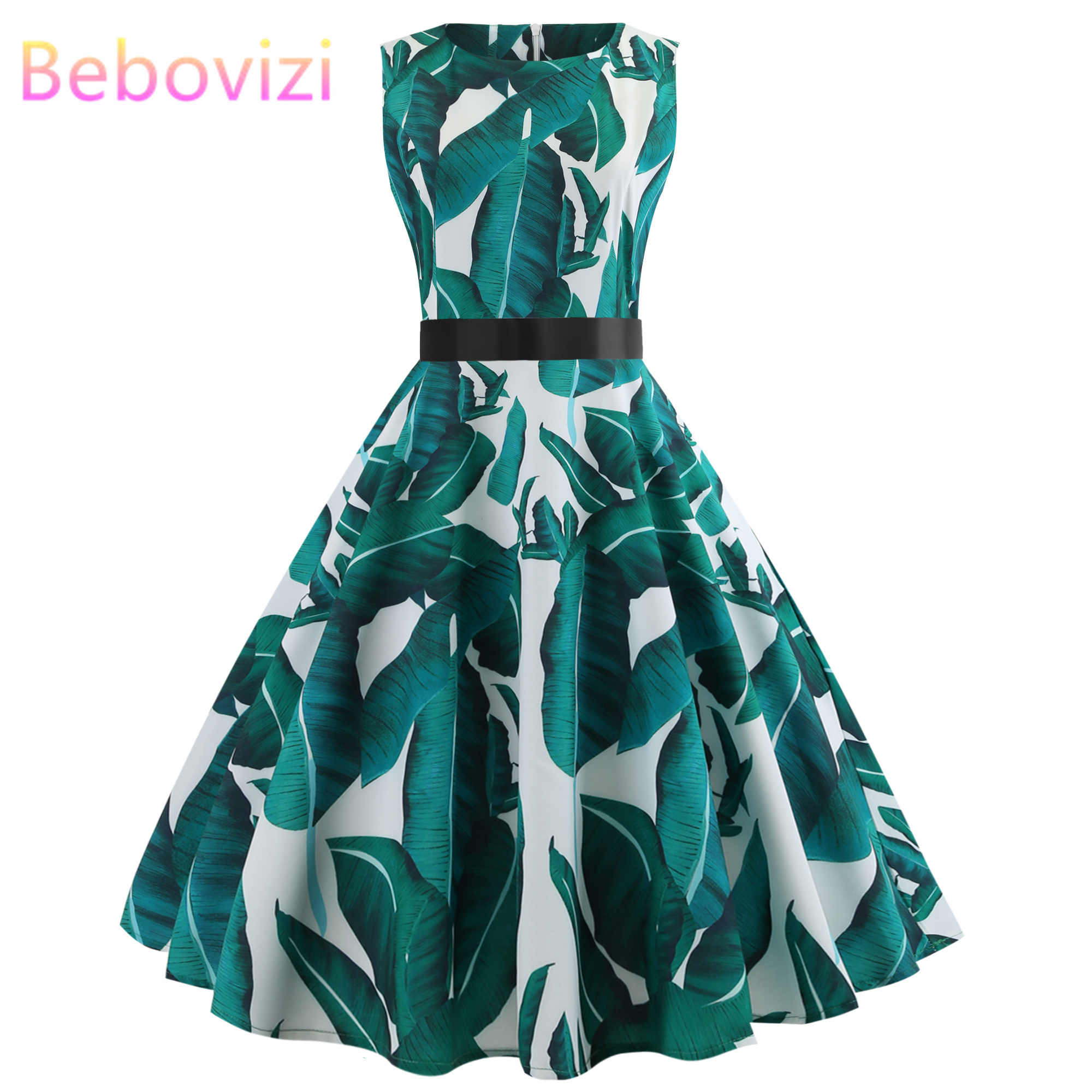 Bebovizi Fashion 2019 Summer Women Hepburn 50s Vintage Floral Print Sleeveless Retro Swing Casual Elegant Party Bandage Dress