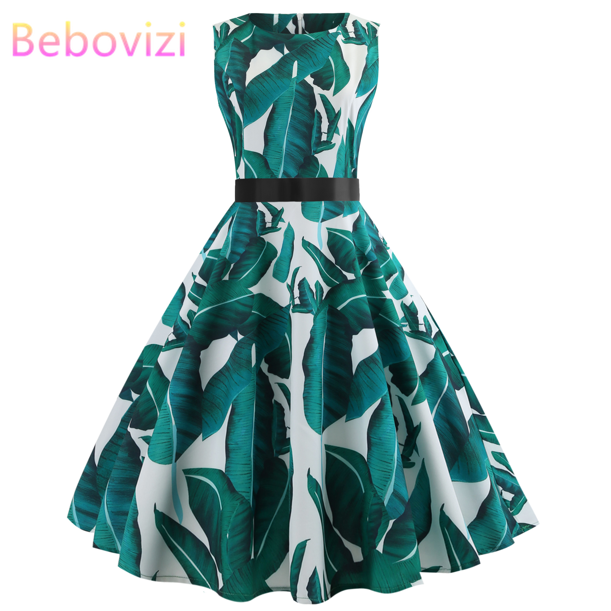 Bebovizi Fashion 2019 Summer Women Hepburn 50s Vintage Floral Print Sleeveless Retro Swing Casual Elegant Party Bandage Dress