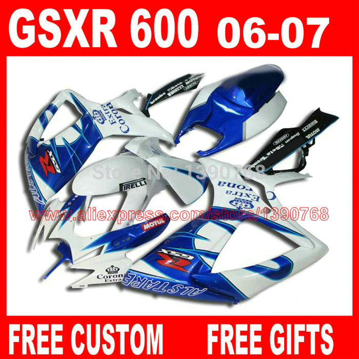 цены  Fairing kit for SUZUKI K6 K7 GSXR 600 750 2006 2007 blue white Corona fairings set body kit GSXR750 06 07  HV99