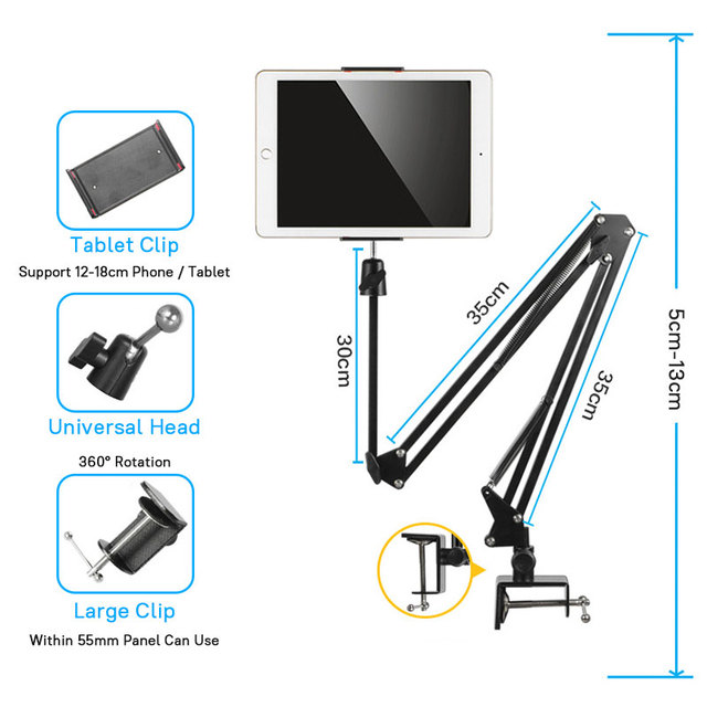 Flexible Long Arm Mobile phone tablet stand holder For iPad Mini Air iPhone Xiaomi Huawei Lazy Bed Desktop Clip Metal Bracket 3