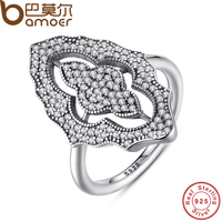 BAMOER אוסף חדש אותנטי מדהים תחרה נוצצת טבעת עם נקה CZ טבעת 100% תכשיטי כסף סטרלינג 925 PA7153