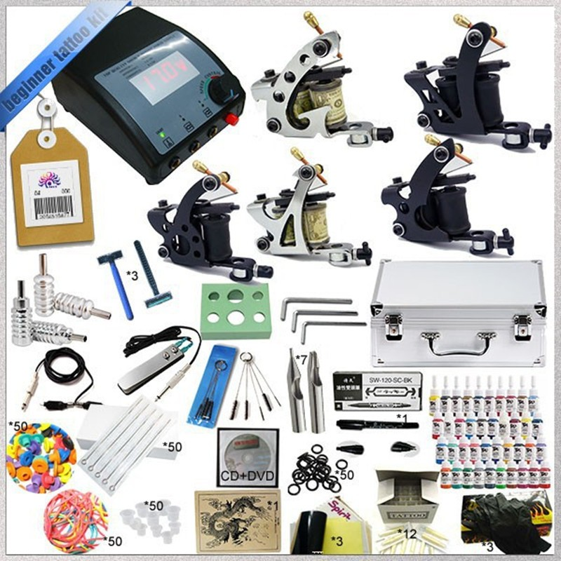 Tattoo Kit Machine Gun Power Supply Needles Grip Tip Ink Needle Aluminum Case