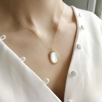 Nuevo diseño 100% Plata de Ley 925 Oval Shell collares con geometrías y colgantes para las mujeres de plata esterlina joyería para mejor amiga regalos