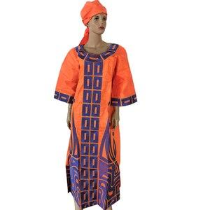 Image 5 - Md 2020 新デザインのコットンアフリカ服バザンricheための女性の伝統的な刺繍ドレスターバンアフリカ女性セット