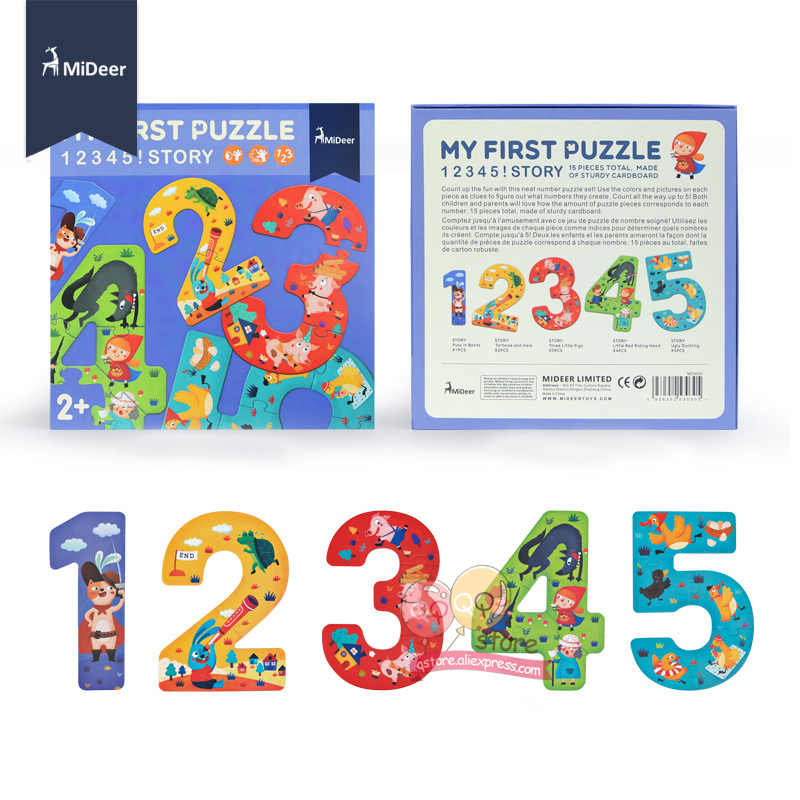 MiDeer 15 pezzo di Cartone Cifre Il Mio Primo Puzzle Di 12345 Fata Story Best Per Bambini giocattoli Educativi per I Più Piccoli Bambini Regalo Di Compleanno