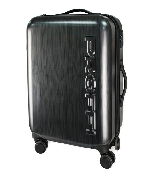Black suitcase PROFI TRAVEL PH8865, M, plastic with retractable handle on wheels [available from 10 11] black suitcase profi travel ph8866 l plastic with retractable handle on wheels