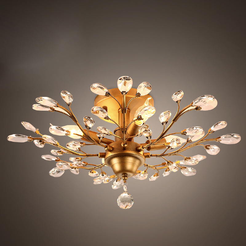 Careful American Country Retro Crystal Branches Chandelier Living Room Bed Room Black Color Gold Color E14 110-240v