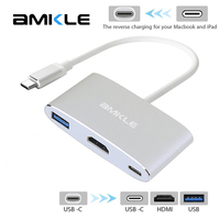 Amkle Type C USB 3 1 To USB 3 0 HDMI Female Charger Adapter Support 4K