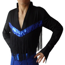 A man fringed Latin dance clothing dance clothing square dance clothes collar stage Y-108