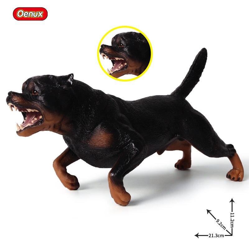 Oenux Original Overlarge Size Rottweiler Dog Simulation Animals Model Roaring Rottweiler Dog Action Figures Birthday Toys Gift tiny the birthday dog