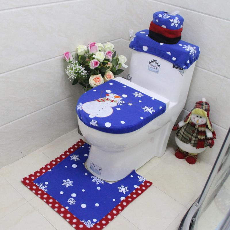 3pcs Bathroom Rug Toilet Mat Christmas Snowman Toilet Seat Cover Water Tank Cover New Year Christmas Decor