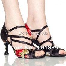 Женские черные атласные танцевальные туфли с цветочным узором; бальные туфли для латиноамериканских танцев; обувь для сальсы; свадебные танцевальные сандалии; Танцевальная обувь для танго; замшевая подошва