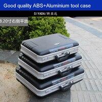 Yüksek kaliteli ABS alüminyum alet kutusu alet kutusu Alüminyum çerçeve Iş danışma valizi Adam taşınabilir bavul evrak çantası