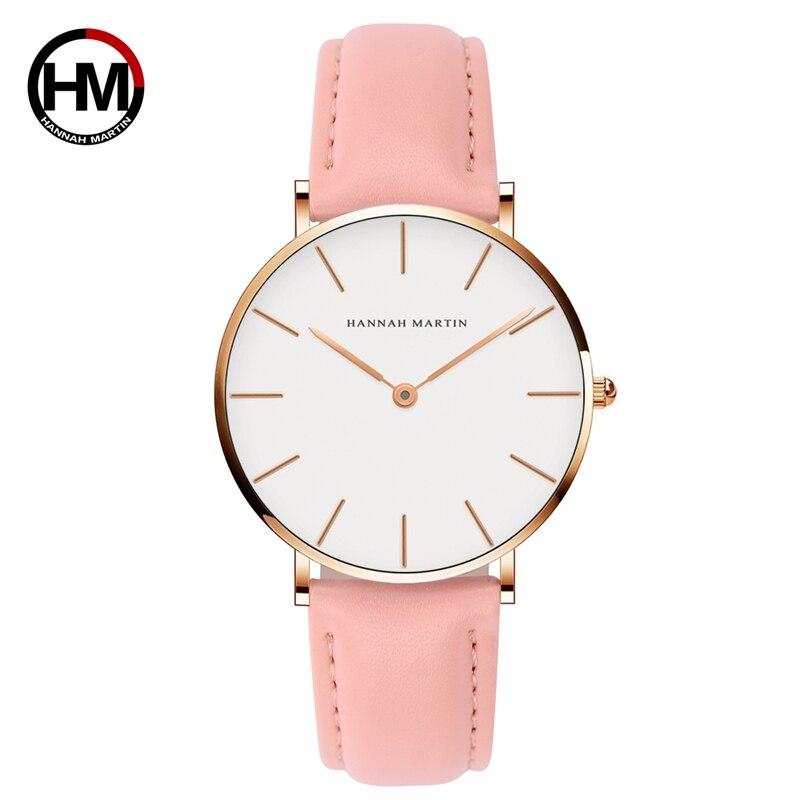 Women Fashion Watch Causal Leather Strap Japan Quartz Movement Top Luxury Brand Unisex Wristwatches Waterproof Relogio Feminino