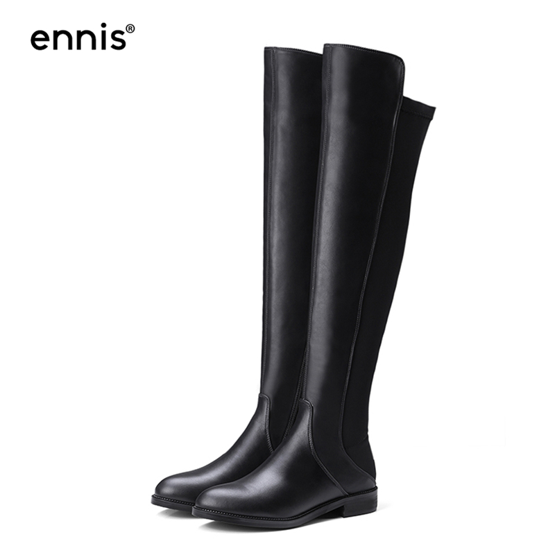 52d41aff72c8 ENNIS 2018 Fashion Flat Women Boots Over The Knee Fabric Stretch Boots Cow Leather  Black Low Heel Long Boots Winter Shoes L740-in Over-the-Knee Boots from ...