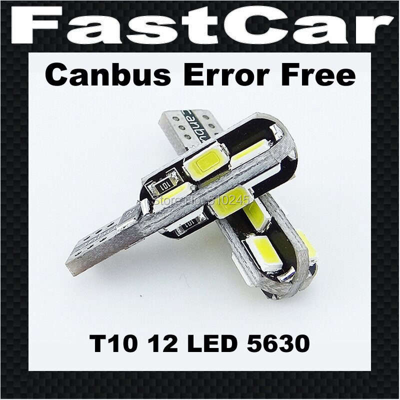 100x High quality Canbus Car Auto LED 194 W5W 12SMD T10 12 LED SMD 5630 Wedge CANBUS OBC ERROR FREE led Light Bulb Lamp