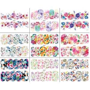 Image 4 - 18 枚咲く花ネイルアートウォーターデカール転送ステッカーマニキュア装飾混合ネイルアート水タトゥーステッカーLAWG273 290