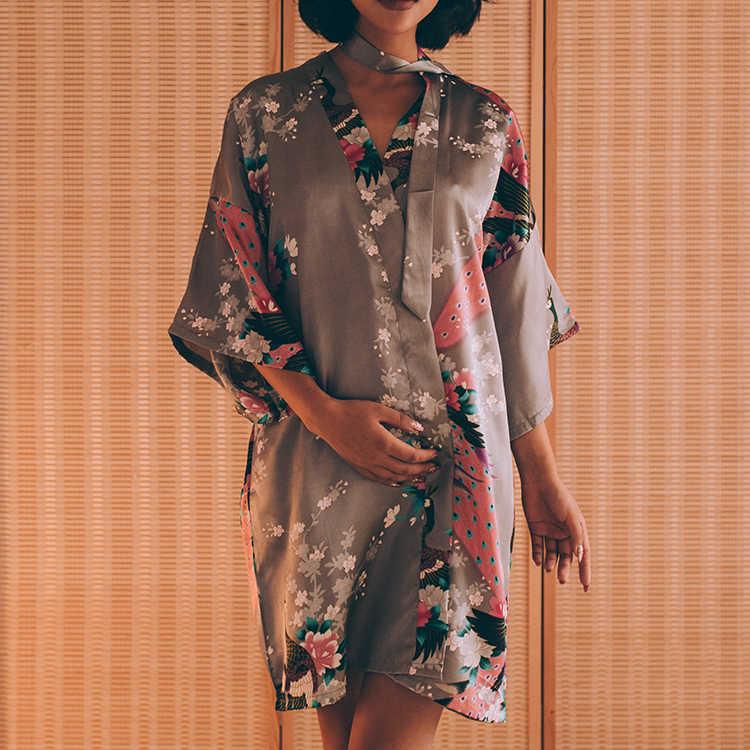 ... Sexy Bride Bridesmaid Wedding Dressing Robe Gray Lady Kimono Bath Gown  Large Size XXXL Sleepwear Floral ... 9f8c9fc454f4