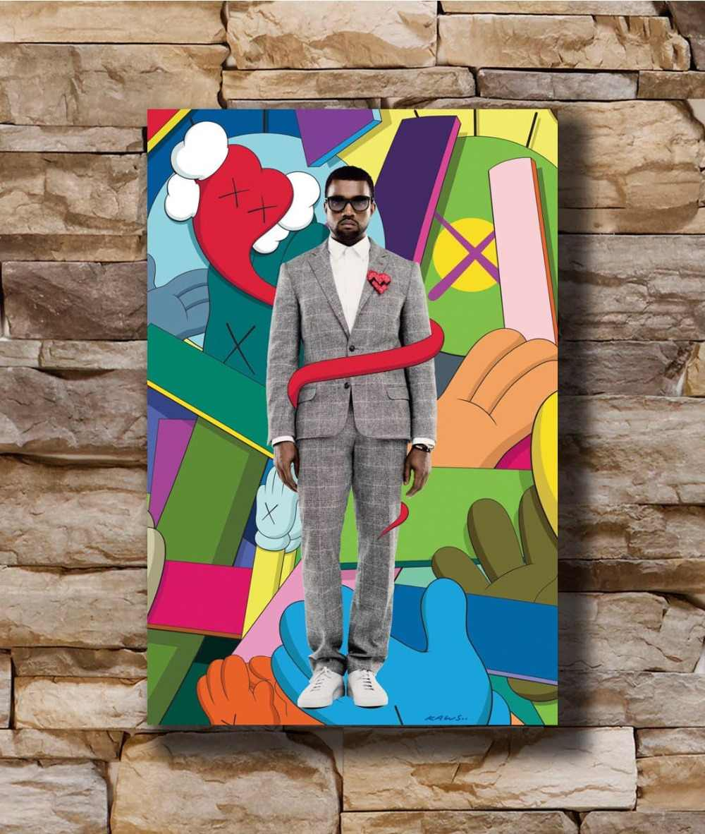 Art Poster New Kanye West Bear Kaws Hip Hop Rapper Music Light Canvas Wall 14x21 20x30 24x36In N604