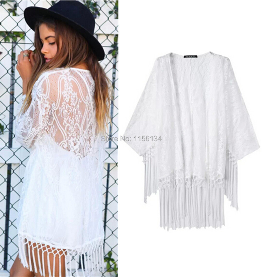 Online Shop 2015 Women's White Lace Crochet Embroidered Loose ...