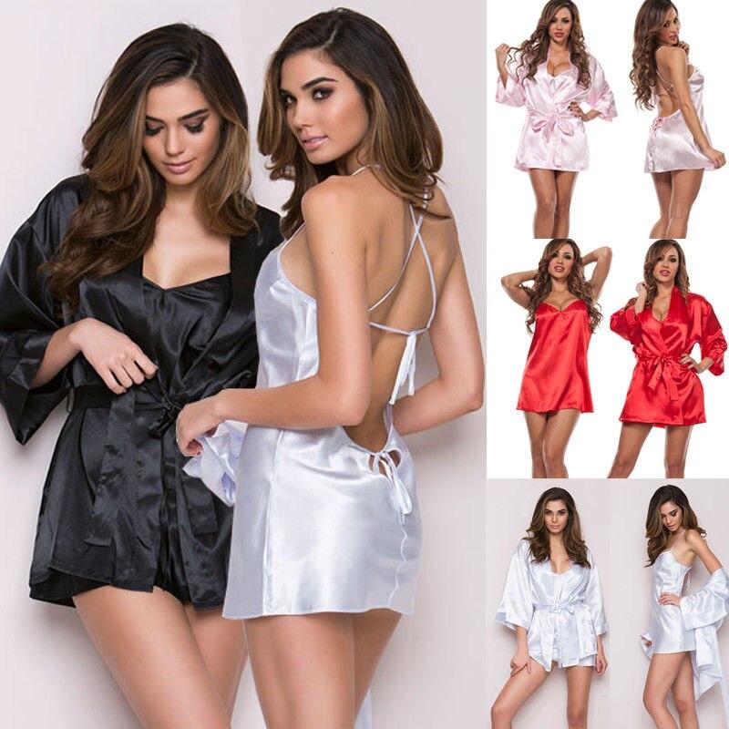 Ladies Sexy Lace Satin Lingerie Sleepwear Night Gown Babydoll Nightie Robe   Pajama     Sets