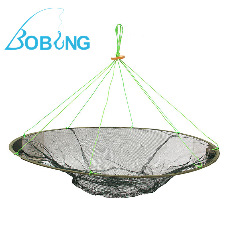 Bobing 100cm Single Steel Wire Fishing Net Large Prawn Bait Crab Shrimp Net Crayfish Catcher Net Pesca Tackles Protable Foldable