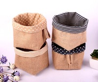 2015 Zakka Natural Home Garden Decoration Wedding Flower Pots Burlap Sacks Jute Bags Waterproof Linen Desk
